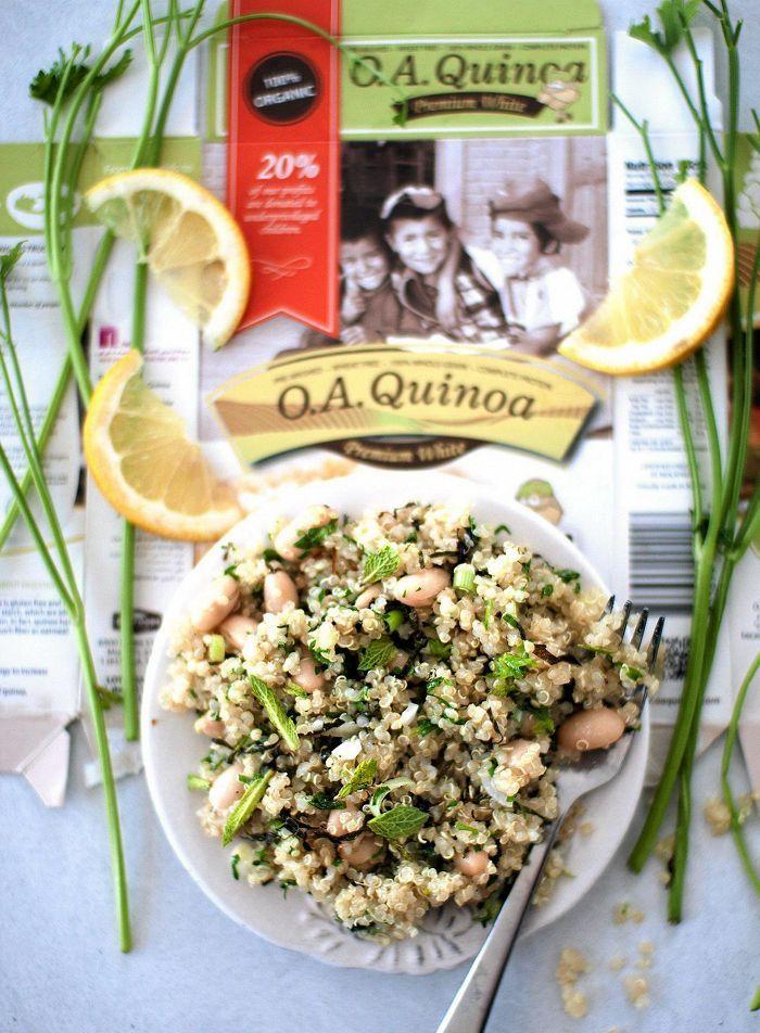 Vegaaninen voimasalaatti - sitruunaa, valkopapuja, quinoaa...