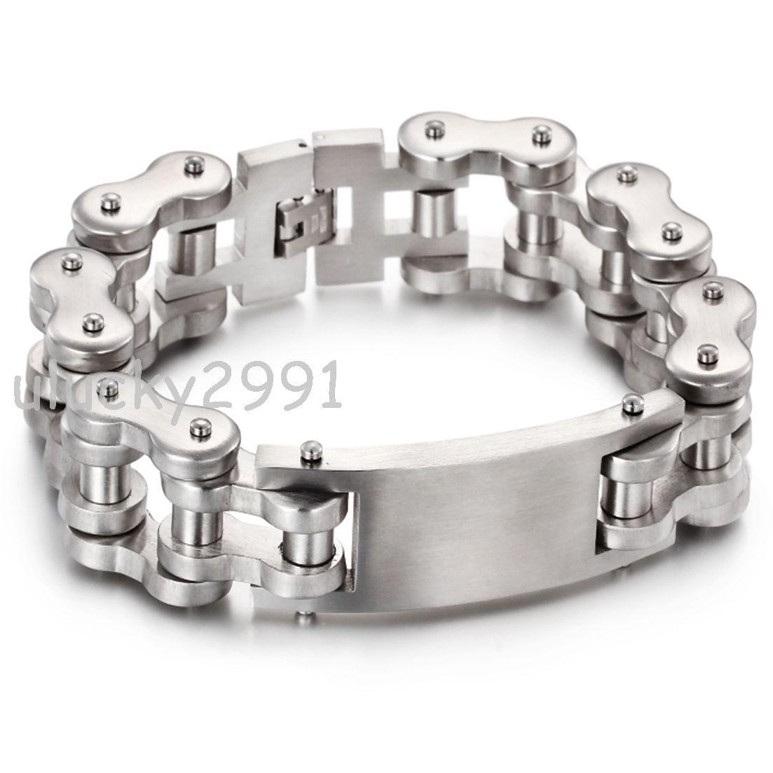 Hot Mens 316l Stainless Steel Silver Heavy Motorcyle Bike Chain Id Bracelet 8 6