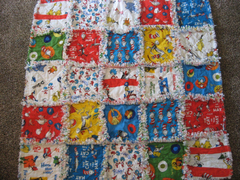 Dr Suess Cat in the Hat Baby Shower Gift Crib Blanket Stroller Blanket Baby Rag Blanket Unisex Baby Boy or Girl Rag Quilt Blanket 35x35 by farmernurse on Etsy