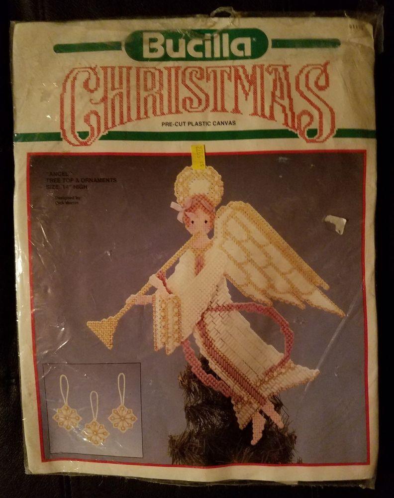 Bucilla Christmas Angel 14 Tree Topper & Ornaments Pre-cut Plastic Canvas Kit