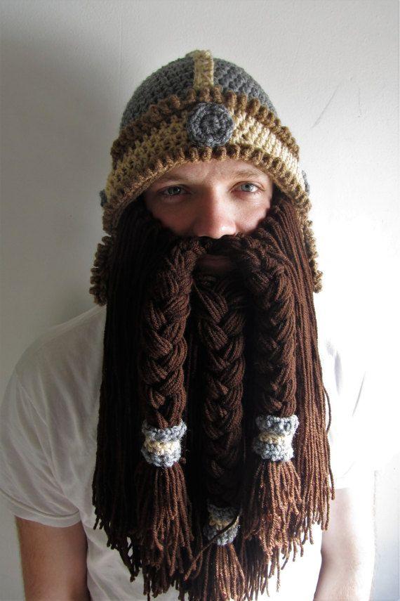 Viking beard hat  crochet dwarf helmet  viking costume  adult crochet beanie   cosplay beard hat  d d 2d59fddf16b
