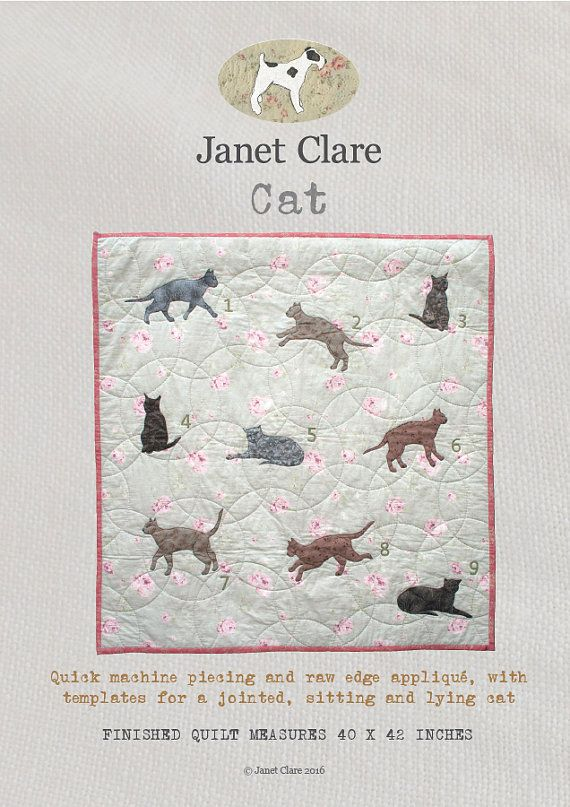Cat - A fun appliqué quilt pattern featuring leaping, stretching and prowling cats!
