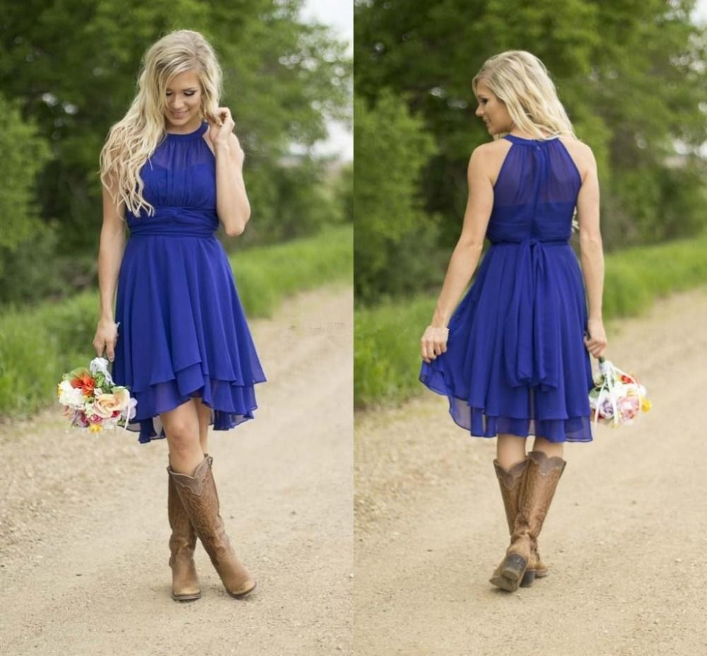 Modest country western style royal blue short bridesmaid dresses modest country western style royal blue short bridesmaid dresses 2016 beach chiffon simple knee length wedding ombrellifo Choice Image