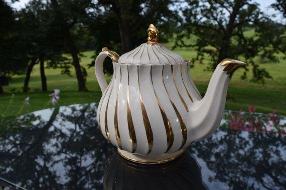 Vintage Cream and Gold Swirl Teapot Sadler by Antiquevintagefind