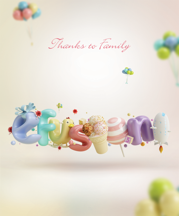 3d typography by Sion Junghwan: Thanks to Family ...
