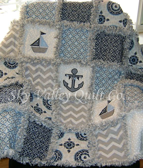 Baby boy Rag Quilt ~ blue and gray nautical sailboats