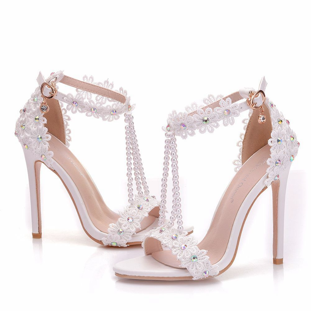 Charming White Wedding Shoes 2018 T Strap Lace Flower Pearl Rhinestone Ankle Strap 11 Cm Stiletto Heels Open Peep Toe Wedding High Heels Wedding Shoes Heels White Wedding Shoes Wedding Shoes
