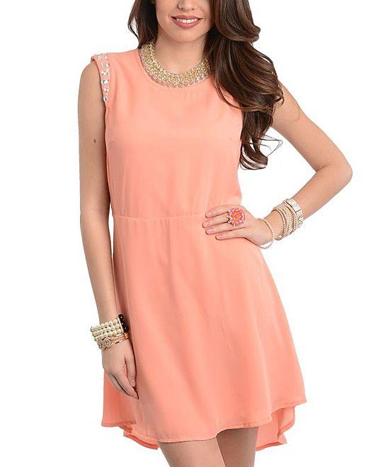 Peach Rhinestone Studded Sleeveless Dress