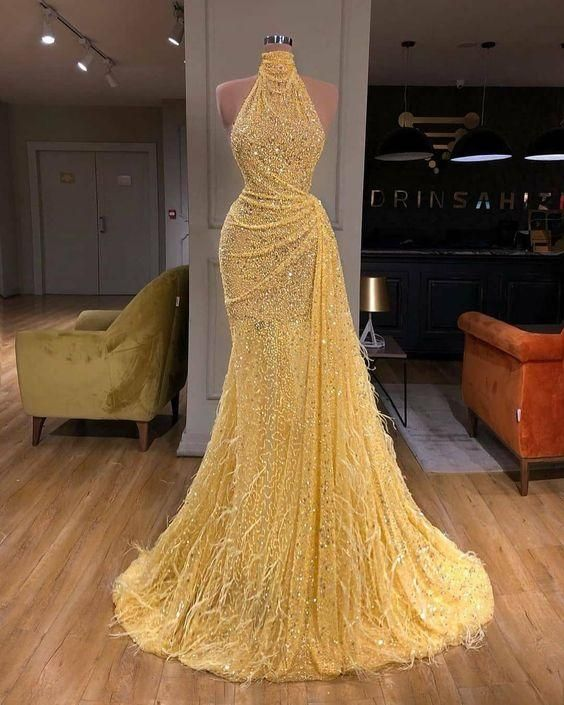 yellow evening dresses long high neck sparkly feather luxury bling evening gown formal dress
