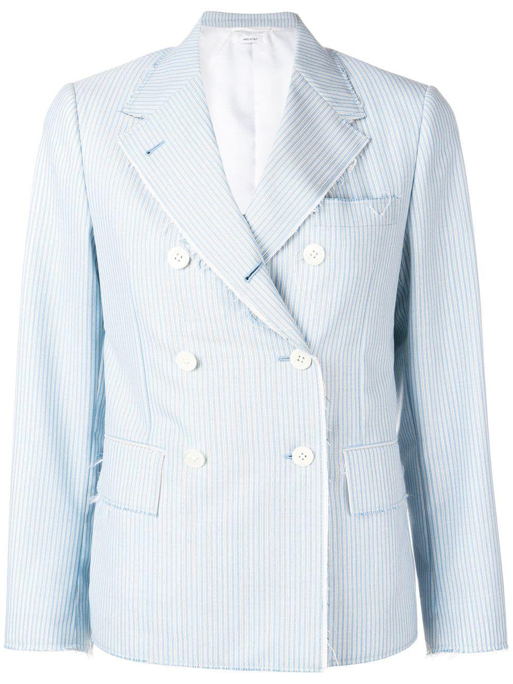 Awning Stripe Narrow Sport Coat In Blue Sport Coat Thom Browne Women Wear