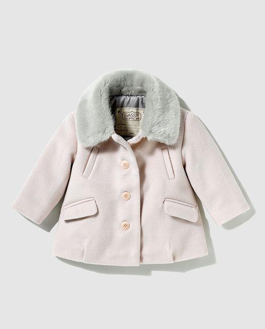 afb4c624d Abrigo de bebé niña Bass 10 en rosa con cuello de pelo