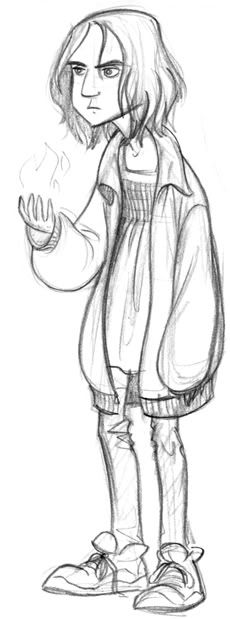 Boy Snape - With his funny smock thing. I had this design in mind when I redesigned adult Snape; I hope they look like the same person. [by Tealin]