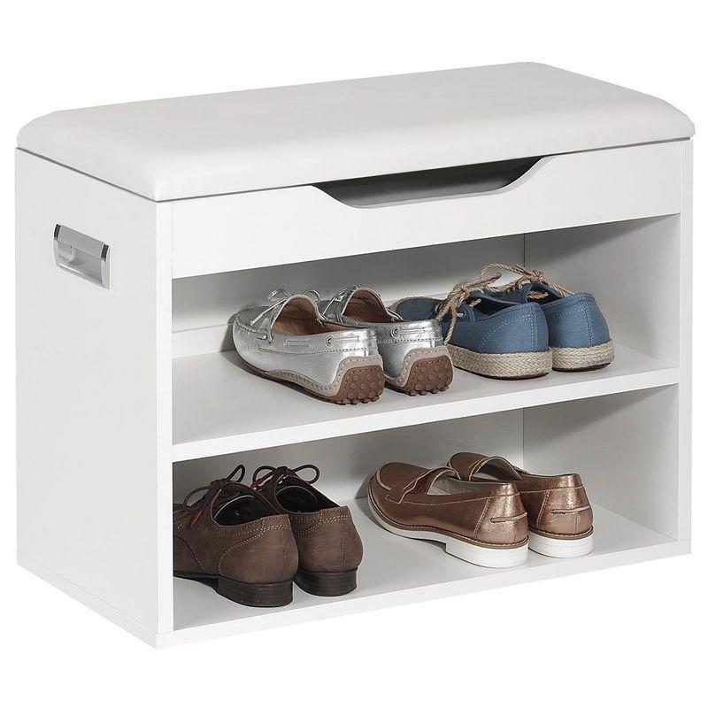 Meuble A Chaussures Zapato Banc Avec Assise Et 2 Etageres Rangement Pour 6 Paires Decor Blanc Mat Idimex In 2020 Shoe Rack Home