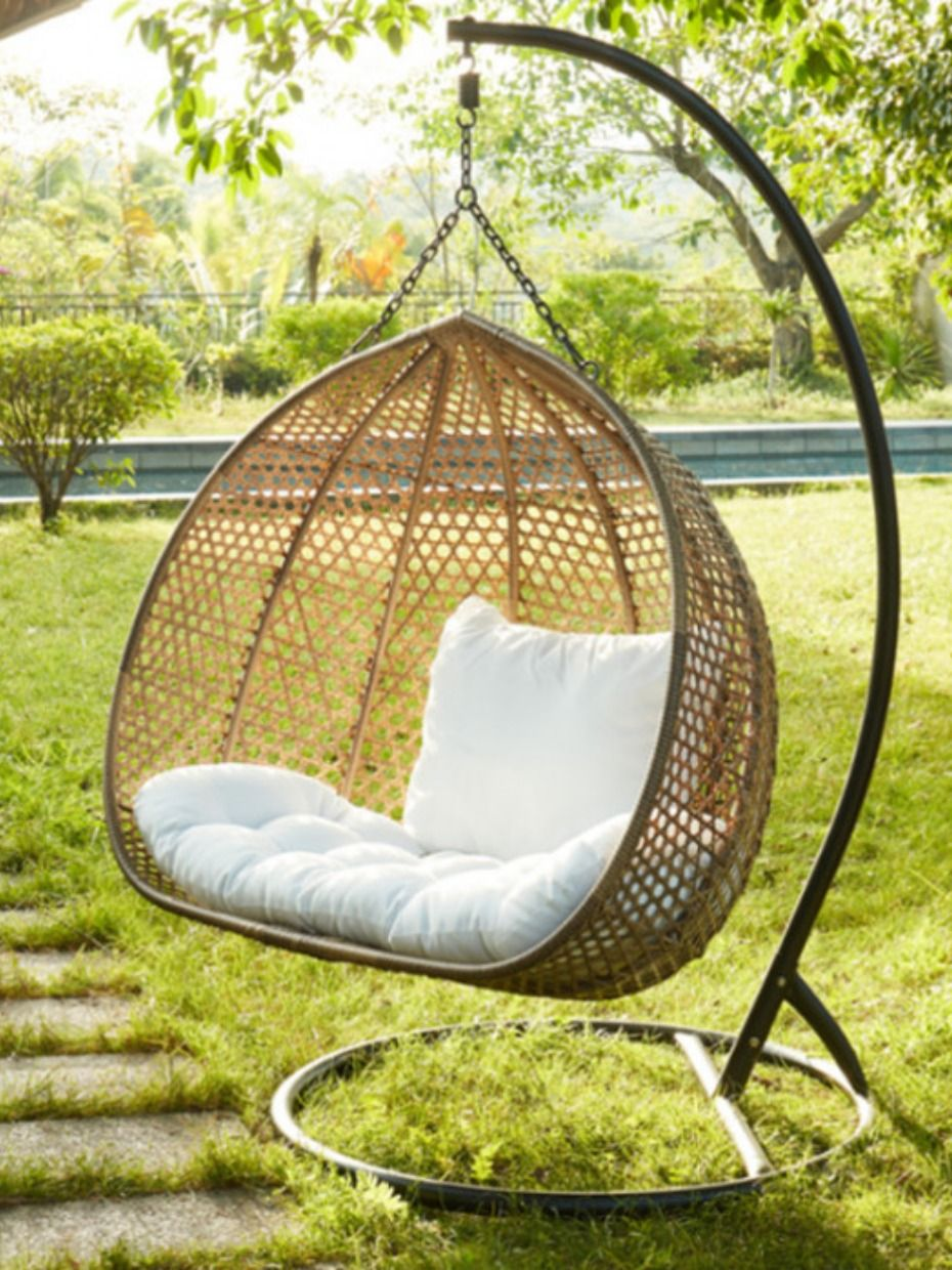 2 Person Egg Swing Swing Chair Outdoor Hanging Chair With Stand Hanging Papasan Chair