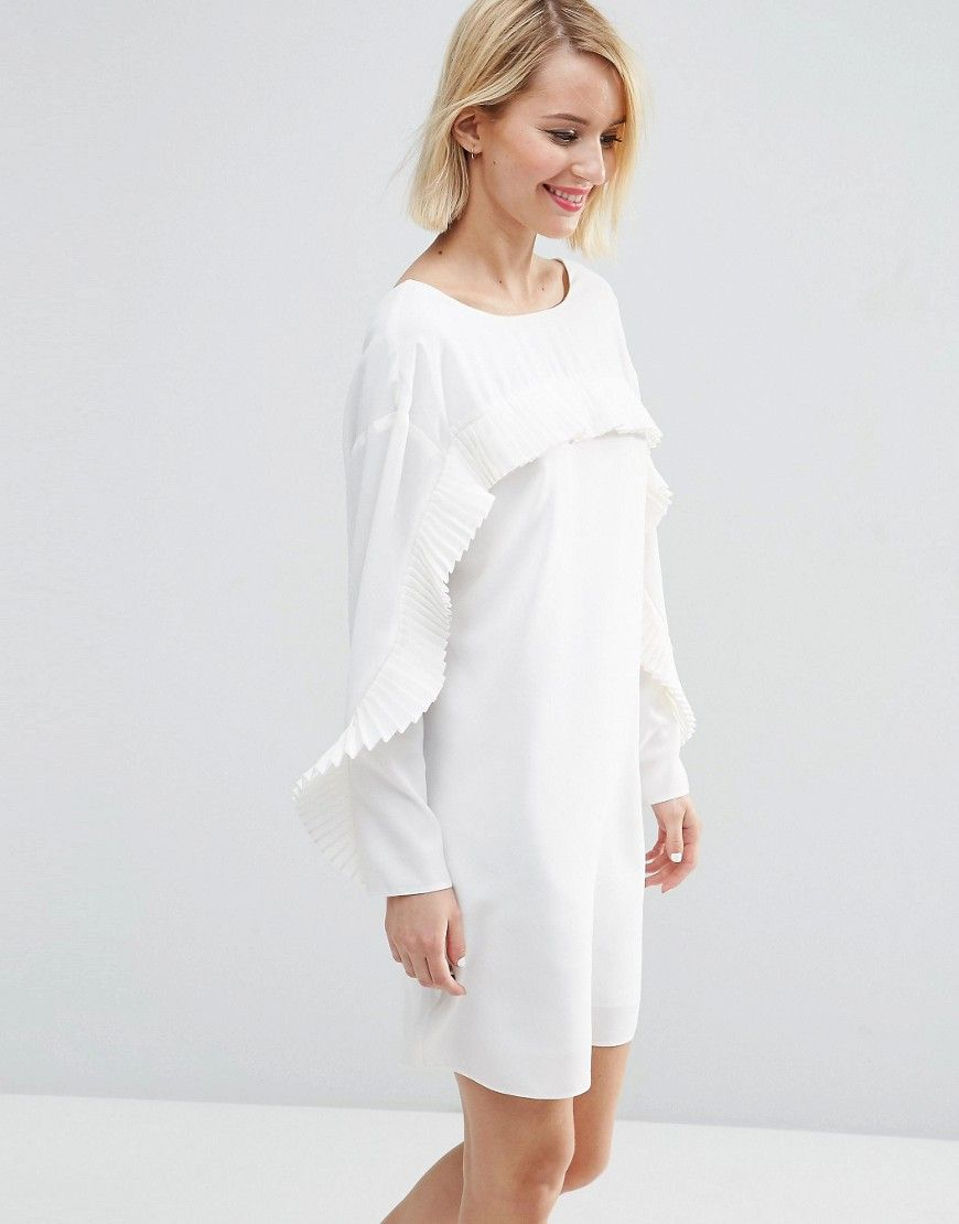Image 1 of ASOS Shift Dress with Pleat Ruffle Detail