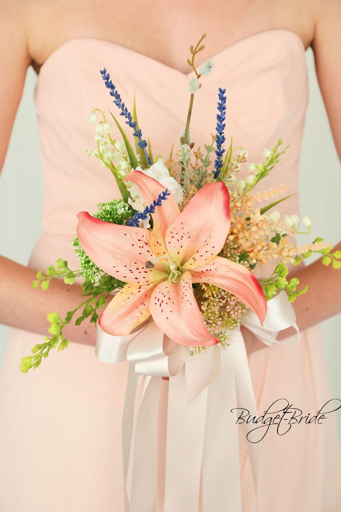 Davids Bridal Bellini Wedding Bouquet Wildflower Style With Peach
