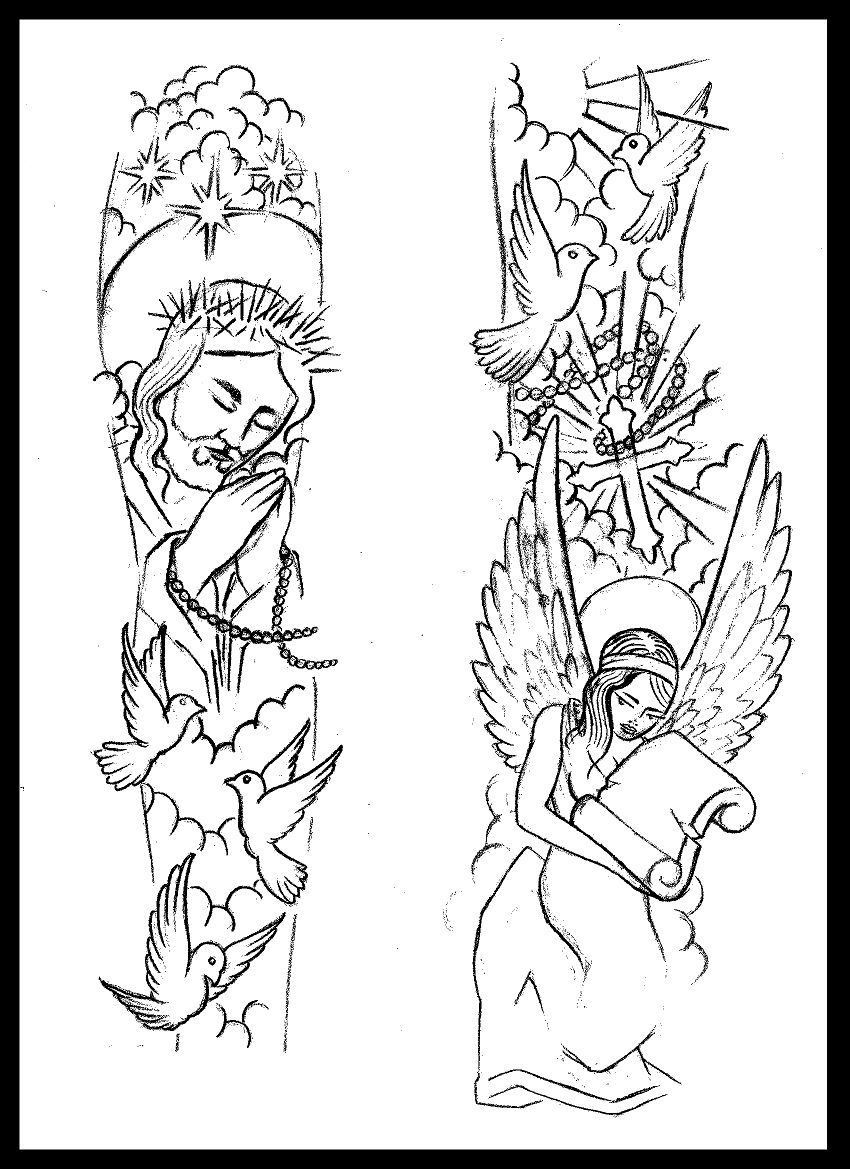 Religious sleeve tattoo design by for Forearm tattoo sketches