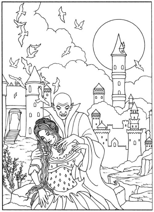 Page From Vampires Coloring Book Dover Books