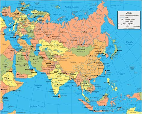 map of the Asian Continent Maps in 2018 Pinterest Asia map
