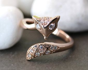 Fox Ring Women's Adjustable Crystal Animal Ring Woodland Forest Theme Jewelry Free Size Wrap Ring