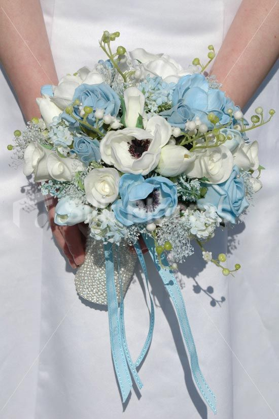 White Light Blue Anemone Rose Tulip Bridal Wedding Bouquet