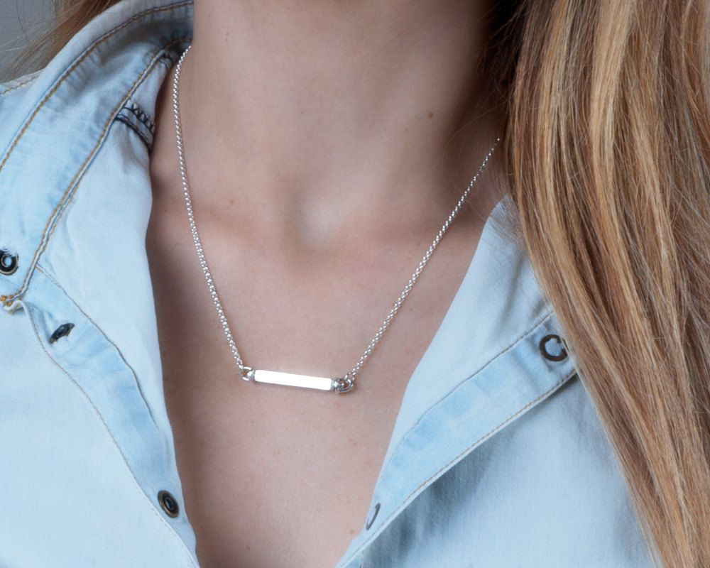 Silver bar necklace personalized four sided bar pendant layering silver bar necklace personalized four sided bar pendant layering necklace custom engraved necklace mozeypictures Choice Image