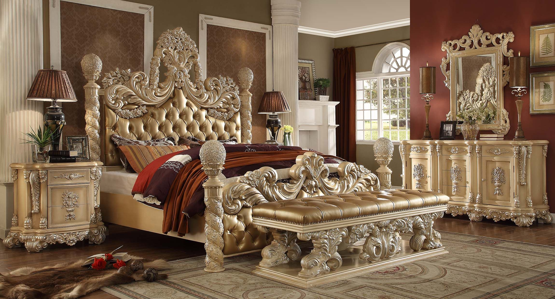5 pc queen victoria renaissance style antique silver queen bedroom set with tufted padded carved headboard