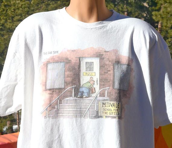 f234193d2 vintage t-shirt 80s FAR SIDE cartoon gifted school midvale | Skippy ...