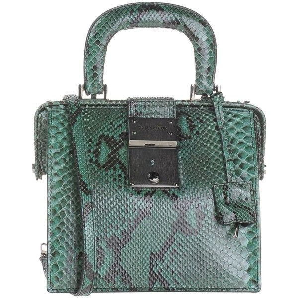 Dsquared2 Handbag (4,230 SAR) ❤ liked on Polyvore featuring bags, handbags, green, genuine leather purse, leather satchel handbags, studded satchel handbag, studded leather purse and leather purse