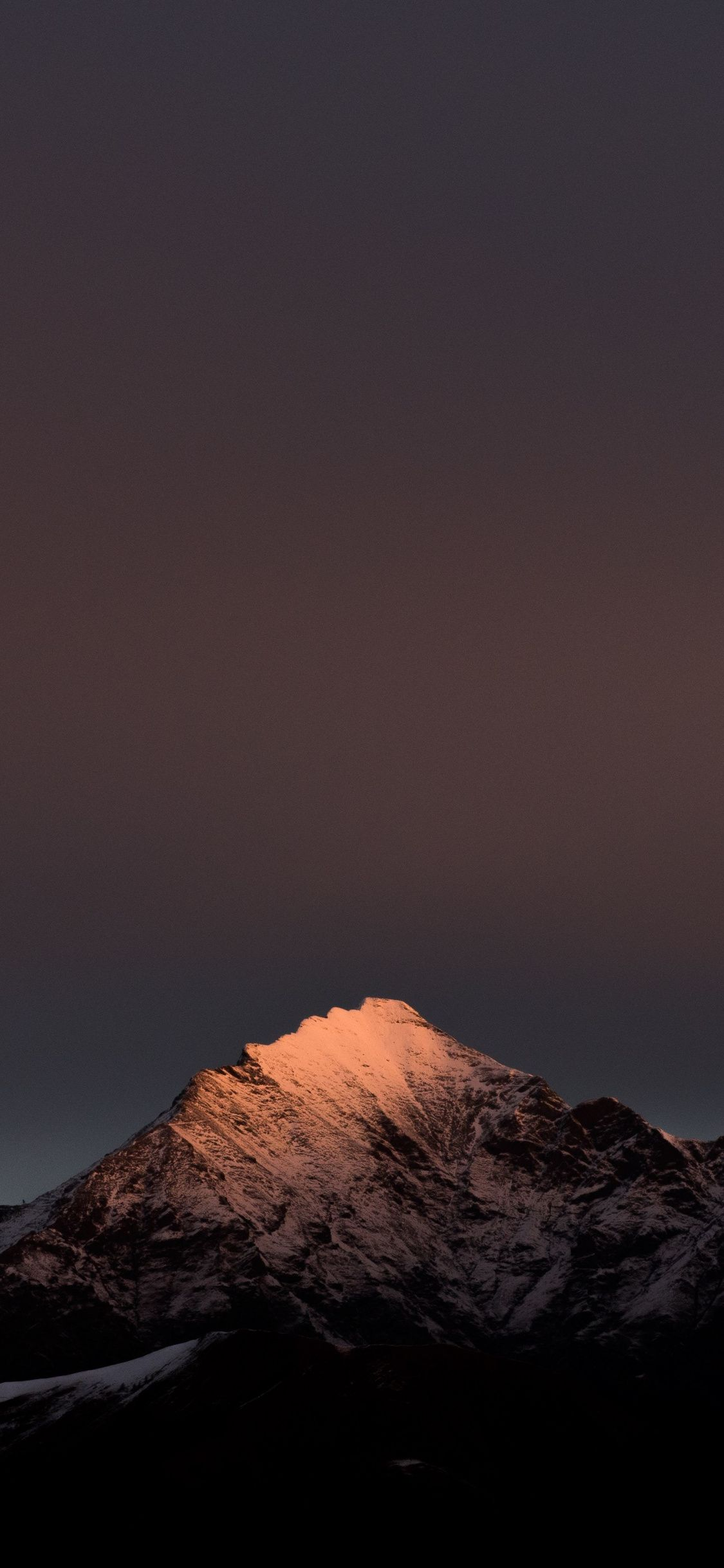 Evening Clean Sky Mountains Peak Nature 1125x2436