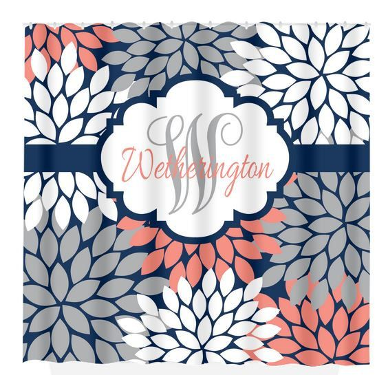 Navy Coral Gray SHOWER CURTAIN Custom MONOGRAM By TRMdesign