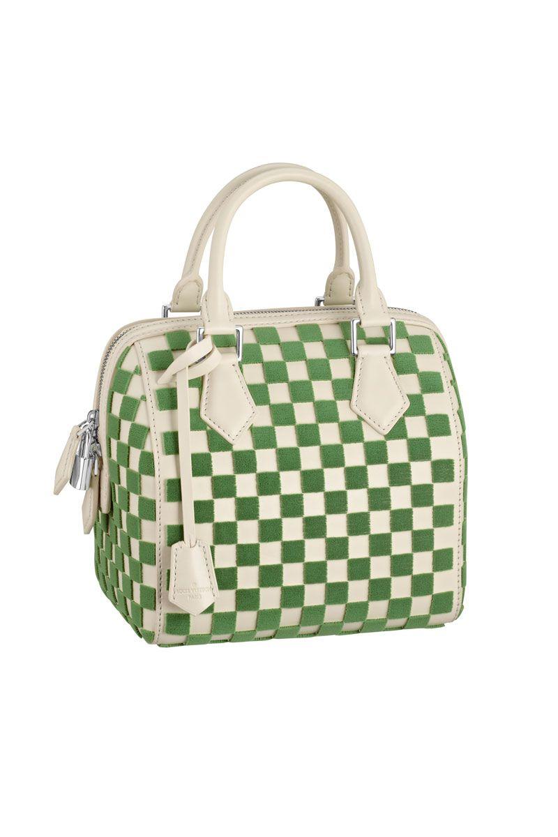 2f64e60cb391 Louis Vuitton Green and Cream Tuffetage Leather Speedy Cube PM