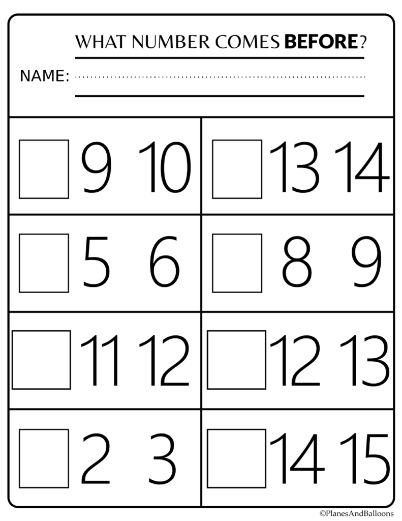 Number Order Kindergarten Free Printable Worksheets