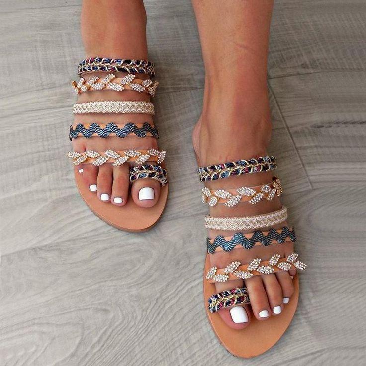Photo of Summer Slip-On Toe Ring Handmade Sandals Boho Sandals Ethnic Slippers ,  #Boho #Ethnic #Handm…