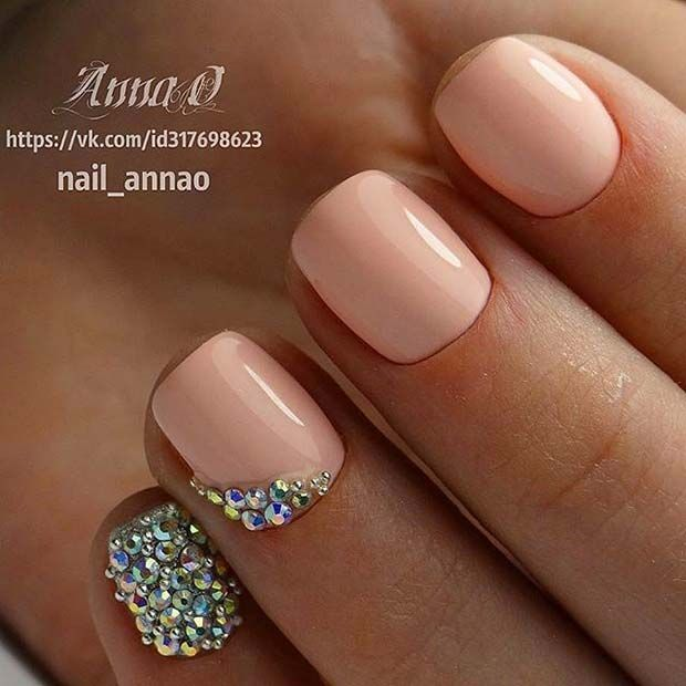 Light Manicure with Gem Accent Nails for Elegant Nail Designs for ...