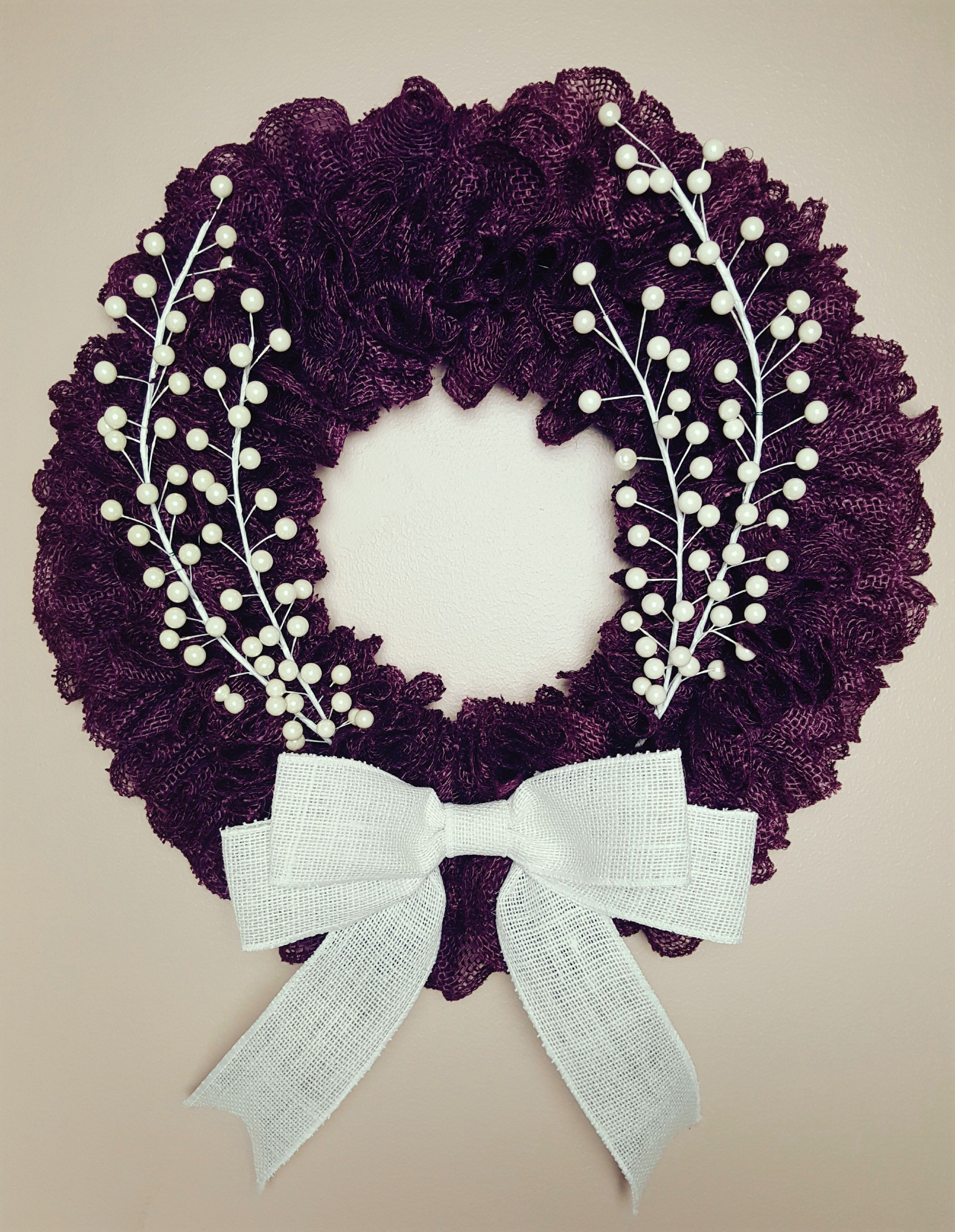 Plum Burlap Wreath With Bow And Pearls, Burlap Wreath