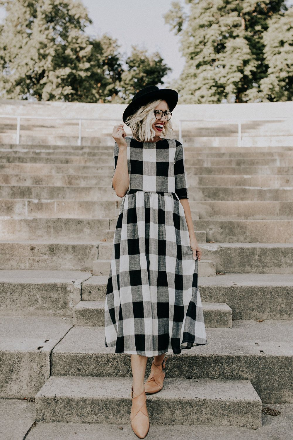 Black White Buffalo Plaid Dress Roolee Maxi Dresses Casual Maxi Dress With Sleeves Buffalo Plaid Dress