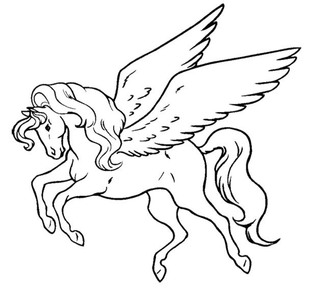 Unicorn Flying Coloring Page