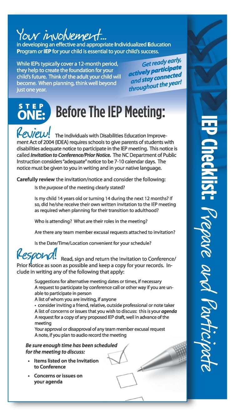 Iep Checklist Prepare And Participate Your Involvement In