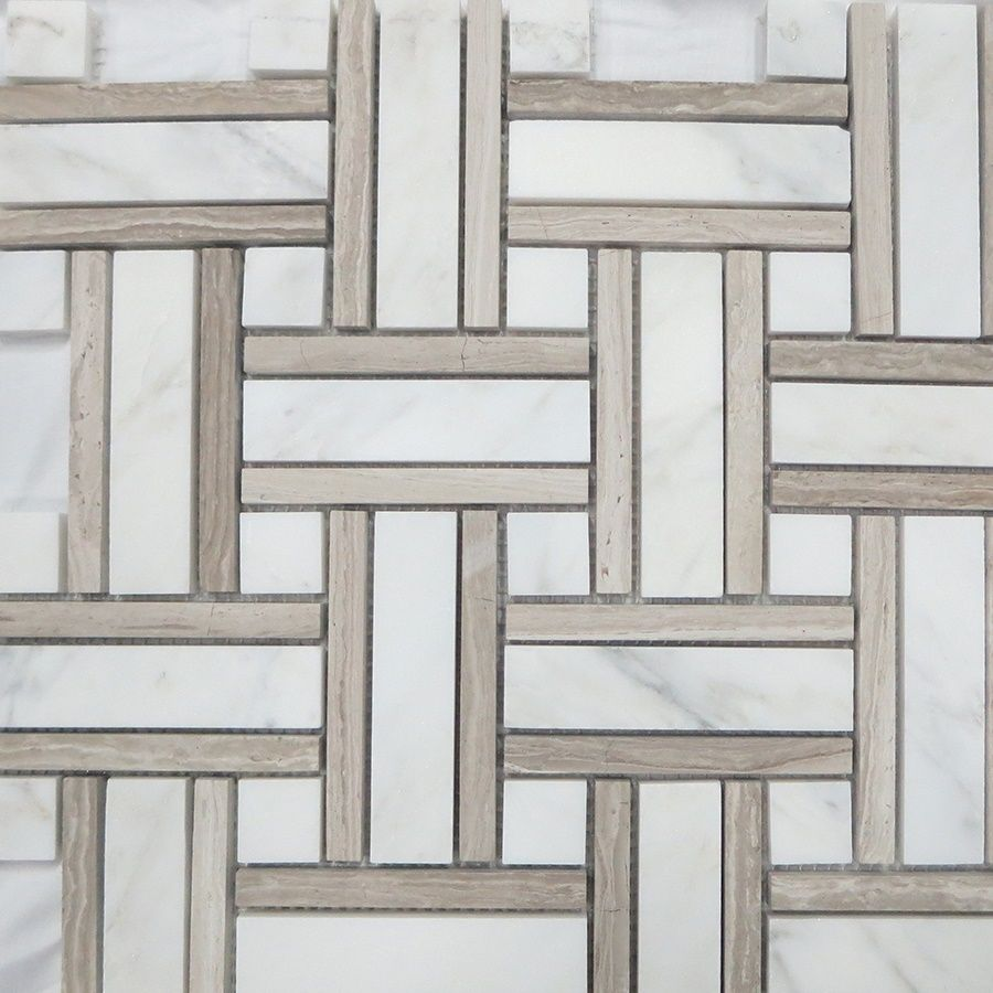 Style Selections Azra Taupe 12 In X 12 In Honed Basketweave Mosaic Wall Tile Lowes Com Mosaic Wall Tiles Marble Wall Tiles Mosaic Wall