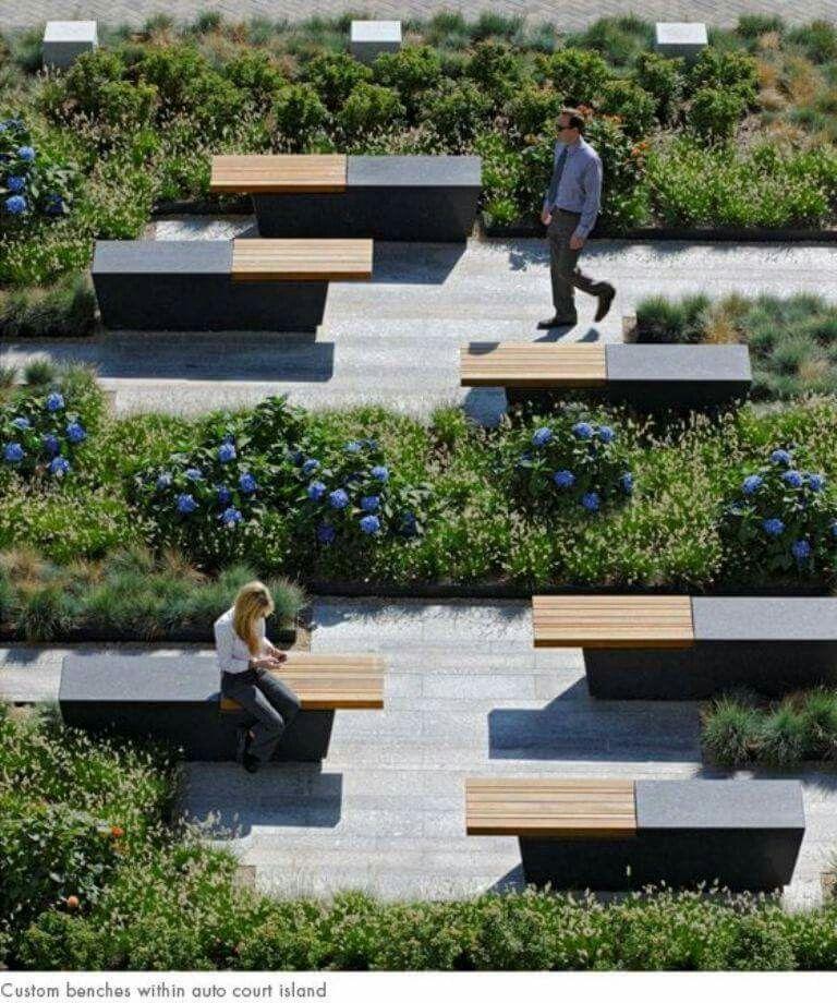 Banca #Diseño #Urbano #moviliario #urbano #entre #jardines #madera - jardines con bancas