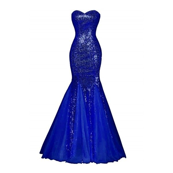 Glamour Sweetheart Sequin Mermaid Long Prom Dress AZBRO.COM (495 DKK) ❤  liked on Polyvore featuring dresses, sequin party dresses, long cocktail  dresses, ...