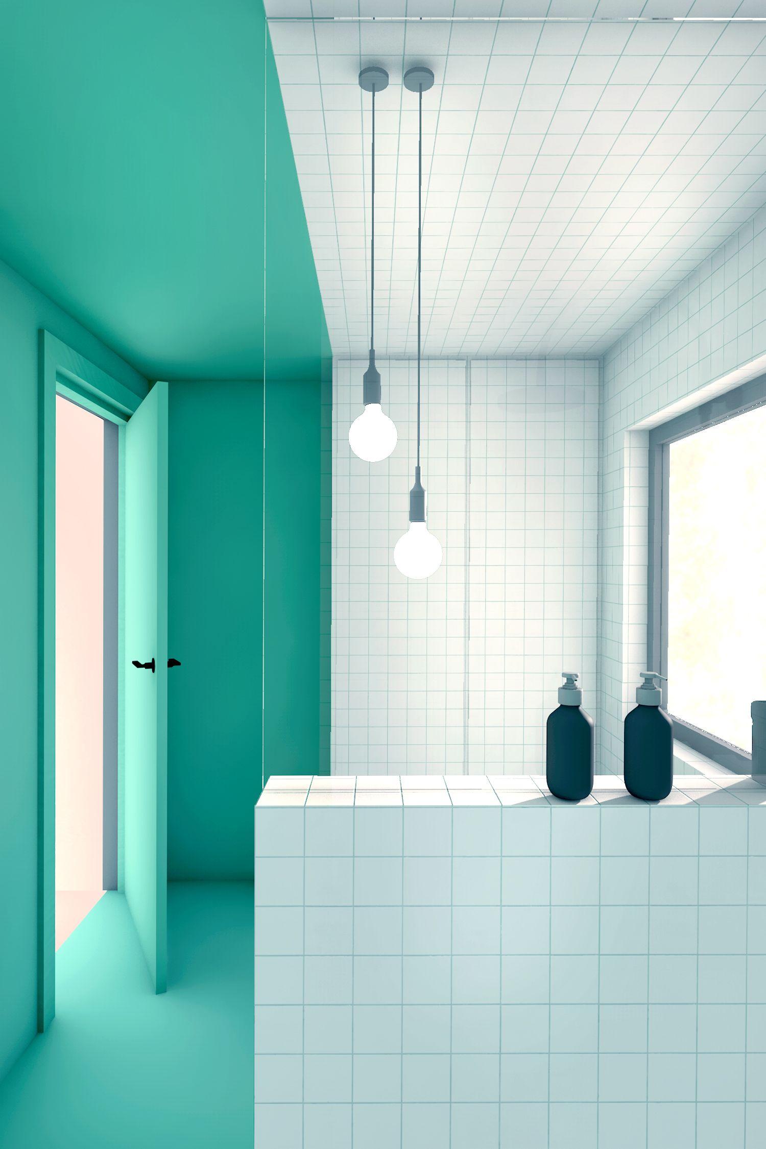 groene badkamer met witte tegels inloop douche en wastafelmeubel
