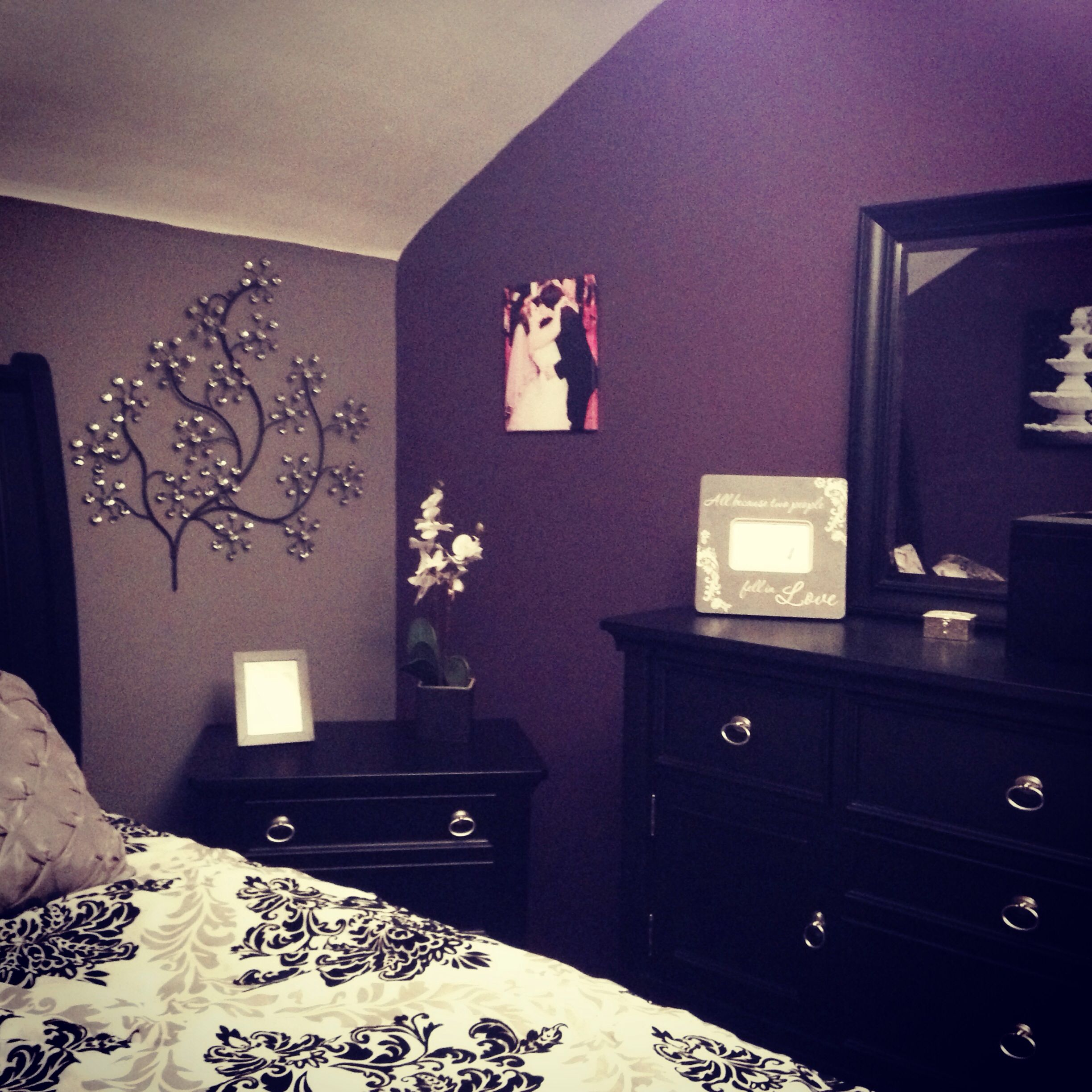 My purple and grey bedroom my diy pinterest gray for Gray wallpaper bedroom