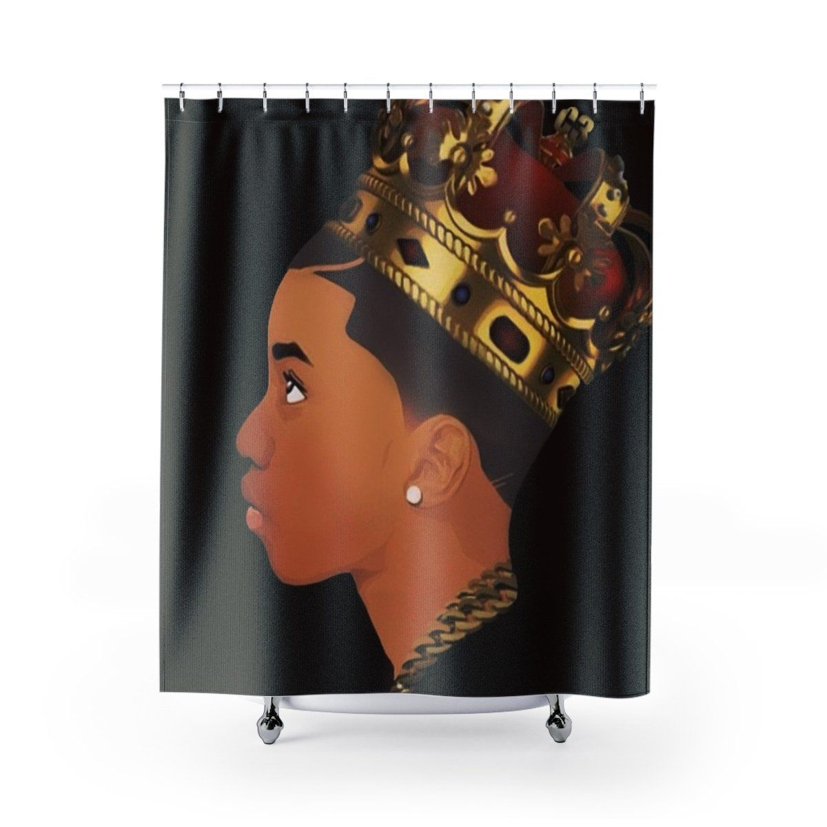 New Young King Shower Curtain In 2020 Afro Shower Curtain