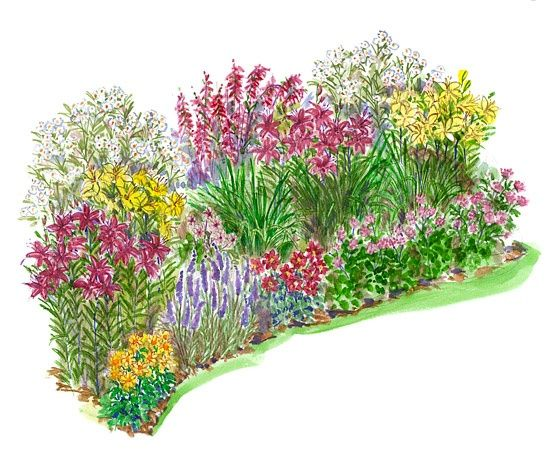 No fuss garden plans 19 diff flower garden plans sun for Easy perennial garden plan
