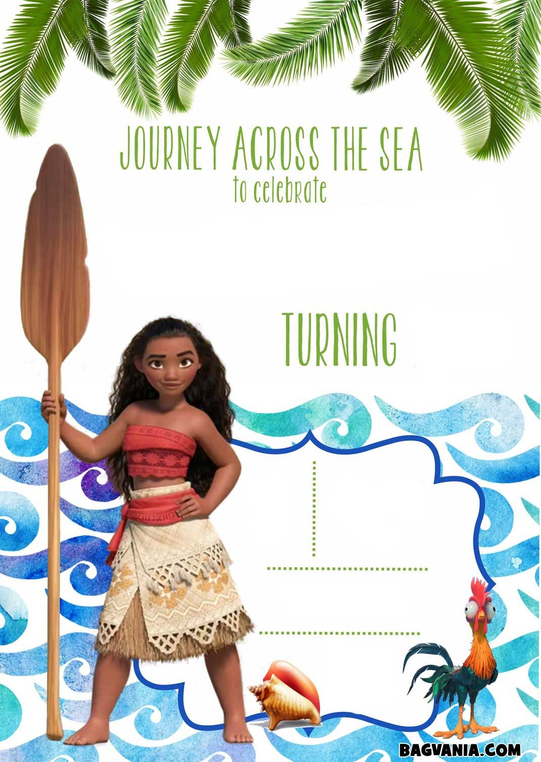 Download Now Free Printable Moana Birthday Invitation Templates