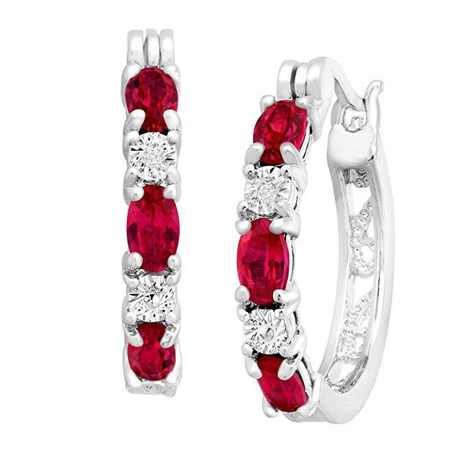 """2 ct Created Ruby Hoop Earrings with Diamonds in Platinum-Plated Brass, .875"""""""