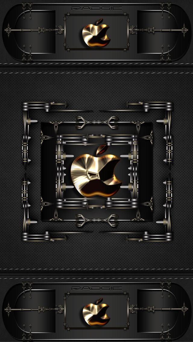 Download Apple black and Gold 640 x 1136 Wallpapers