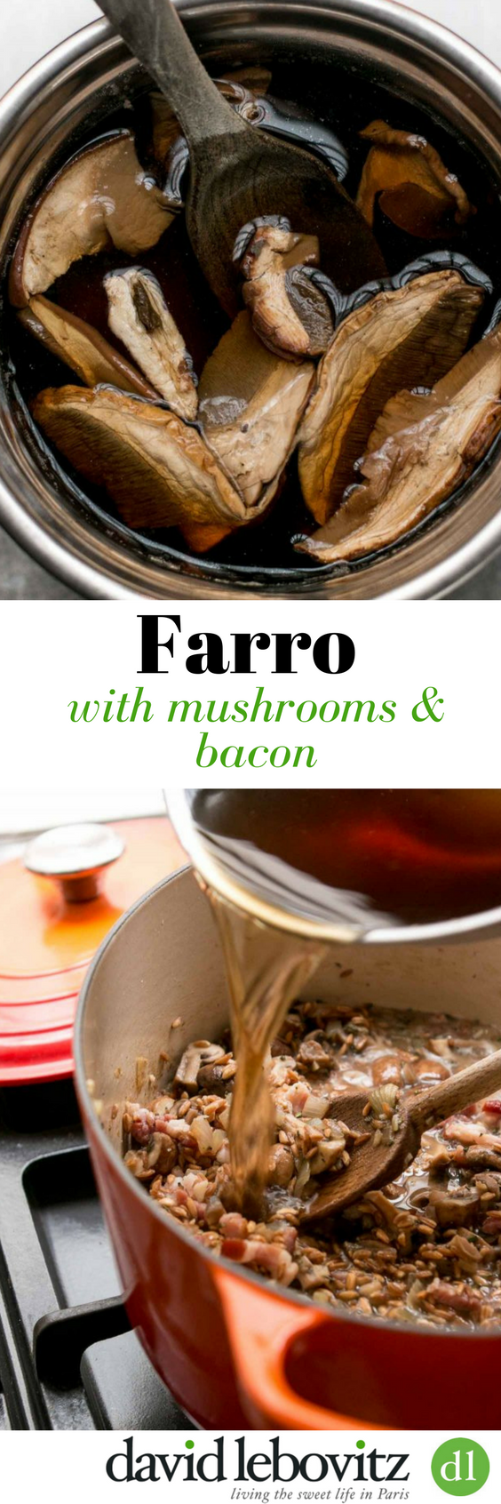 A simple farro recipe, loaded with earthy mushrooms and meaty bacon. A complete dinner in one pot! Can be made in advance and reheats beautifully!